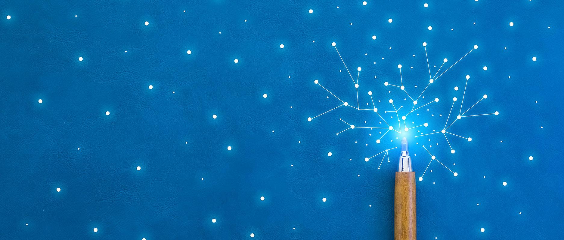 Stylet, lumières bleues et liens