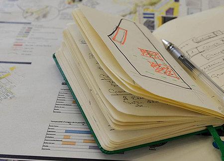 Illustration bureau notes cahier agenda travail qualité